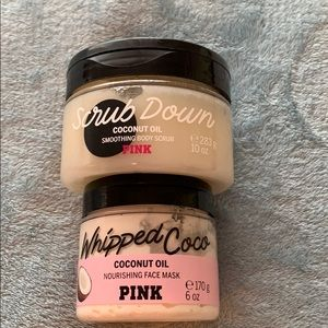 VS PINK coconut oil face mask and body scrub set